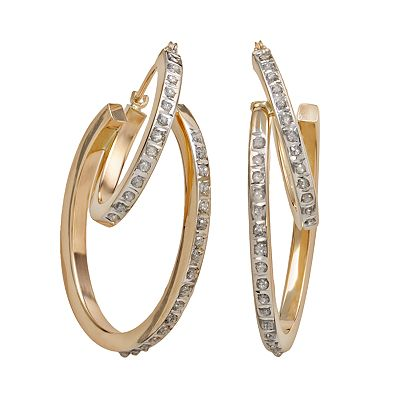 Diamond Fascination 14k Gold Diamond Accent Double Hoop Earrings