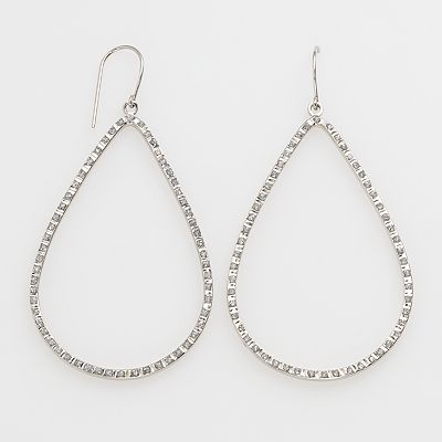 Diamond Mystique Platinum Over Silver Diamond Accent Teardrop Earrings