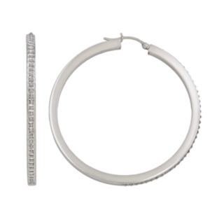 Diamond Mystique Platinum Over Silver Diamond Accent Hoop Earrings
