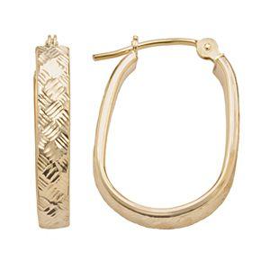 10k Gold Textured U-Hoop Earrings