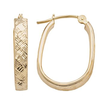 10k Gold Textured U-Hoop Earrings