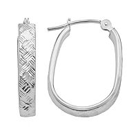 10k White Gold Textured U-Hoop Earrings