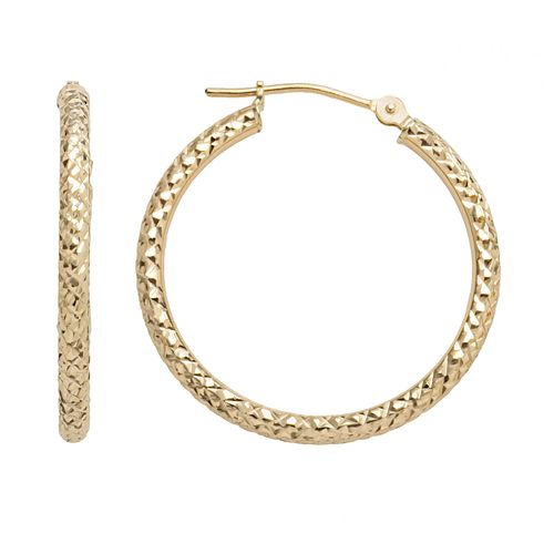 10k Gold Textured Hoop Earrings