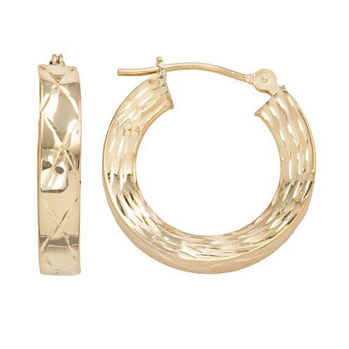 10k Gold Striped Concave Hoop Earrings