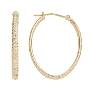 10k Gold Textured Oval Hoop Earrings
