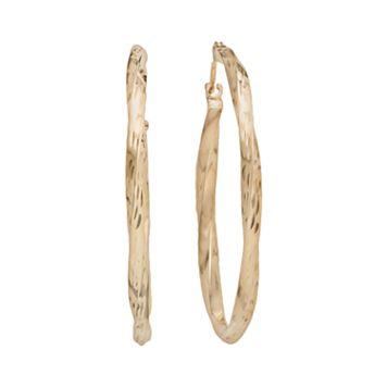 10k Gold Twist Hoop Earrings