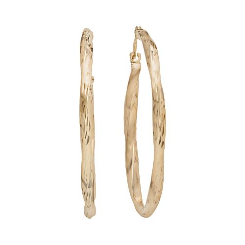 10k Gold Twist Hoop Earrings
