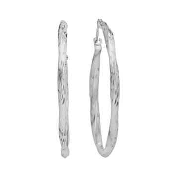 10k White Gold Twist Hoop Earrings