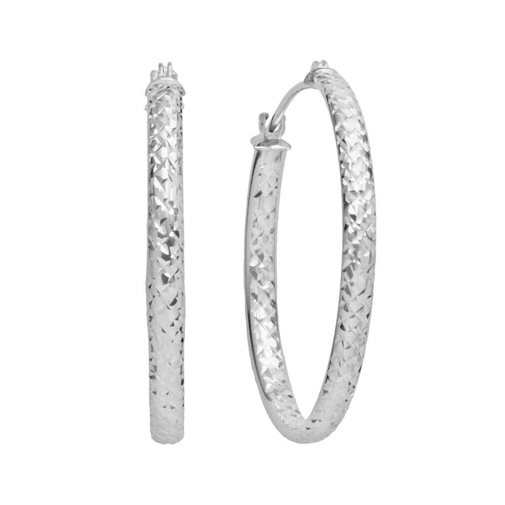 10k White Gold Textured Hoop Earrings