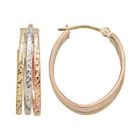 10k Gold Tri-Tone Textured Oval Triple Hoop Earrings