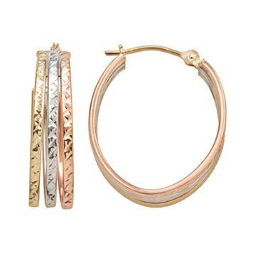 10k Gold Tri-Tone Textured Oval Triple Hoop Earrings