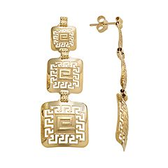 14k Gold & Sterling Silver Greek Key Linear Drop Earrings