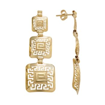14k Gold and Sterling Silver Greek Key Linear Drop Earrings