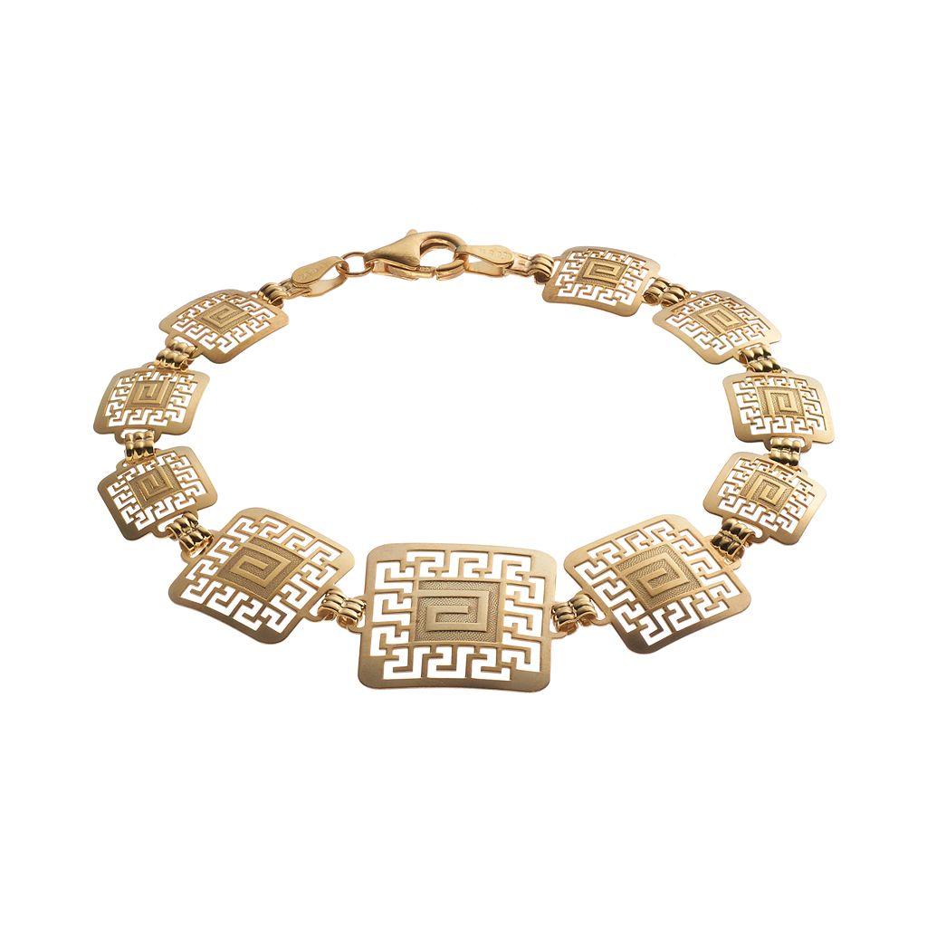 14k Gold & Sterling Silver Greek Key Bracelet