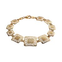 14k Gold & Sterling Silver Greek Key Bracelet