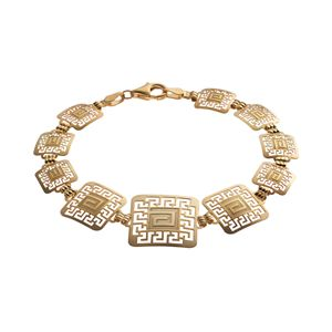 14k Gold and Sterling Silver Greek Key Bracelet