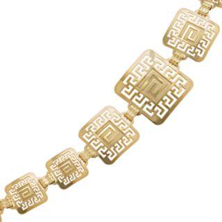14k Gold and Sterling Silver Greek Key Bracelet