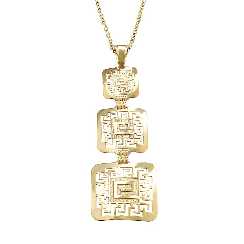 14k Gold & Sterling Silver Greek Key Pendant