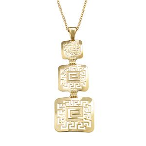 14k Gold and Sterling Silver Greek Key Pendant