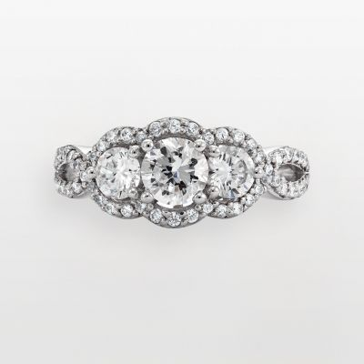Sterling Silver 2 1/2 -ct. T.W. DiamonLuxe Three-Stone Ring