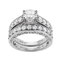 DiamonLuxe Sterling Silver 3.29 ctT.W. Simulated Diamond Ring Set