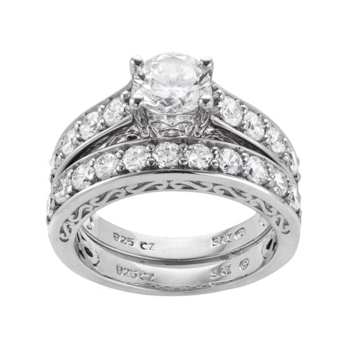 Diamonluxe Sterling Silver 3 29 Ct T W Simulated Diamond Ring Set