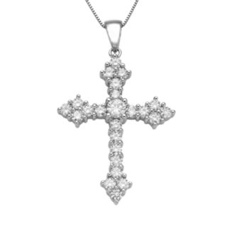 DiamonLuxe Sterling Silver 2-ct. T.W. Simulated Diamond Cross Pendant