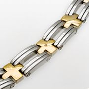 Stainless Steel Two Tone Diamond Accent Cross-Link Bracelet - Men