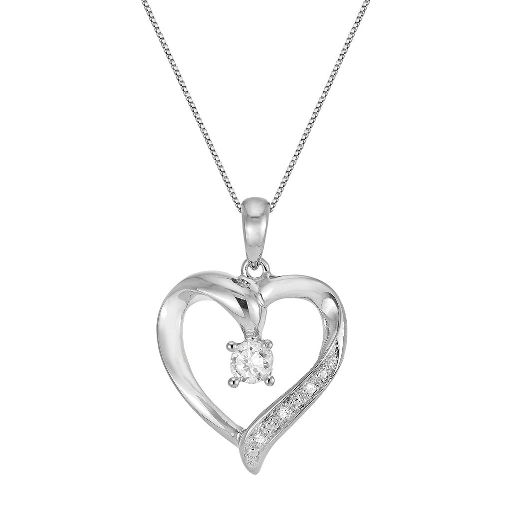 DiamonLuxe Sterling Silver .22-ct. T.W. Simulated Diamond Heart Pendant