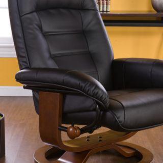Leland Black Leather Recliner & Ottoman