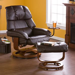 Leland Brown Leather Recliner & Ottoman