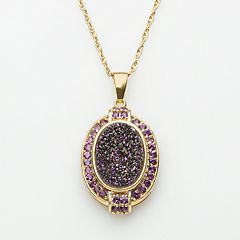 18k Gold Over Silver Purple Drusy & Amethyst Pendant