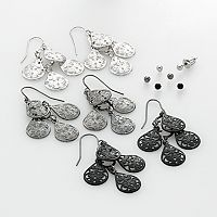 SO® Two Tone Ball Stud & Filigree Chandelier Earring Set