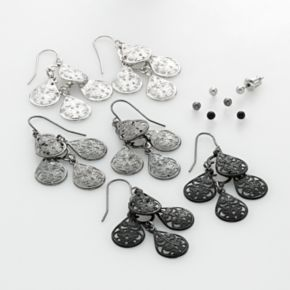 Mudd Two Tone Ball Stud and Filigree Chandelier Earring Set