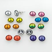 SO Silver Tone Peace Sign Stud Earring Set