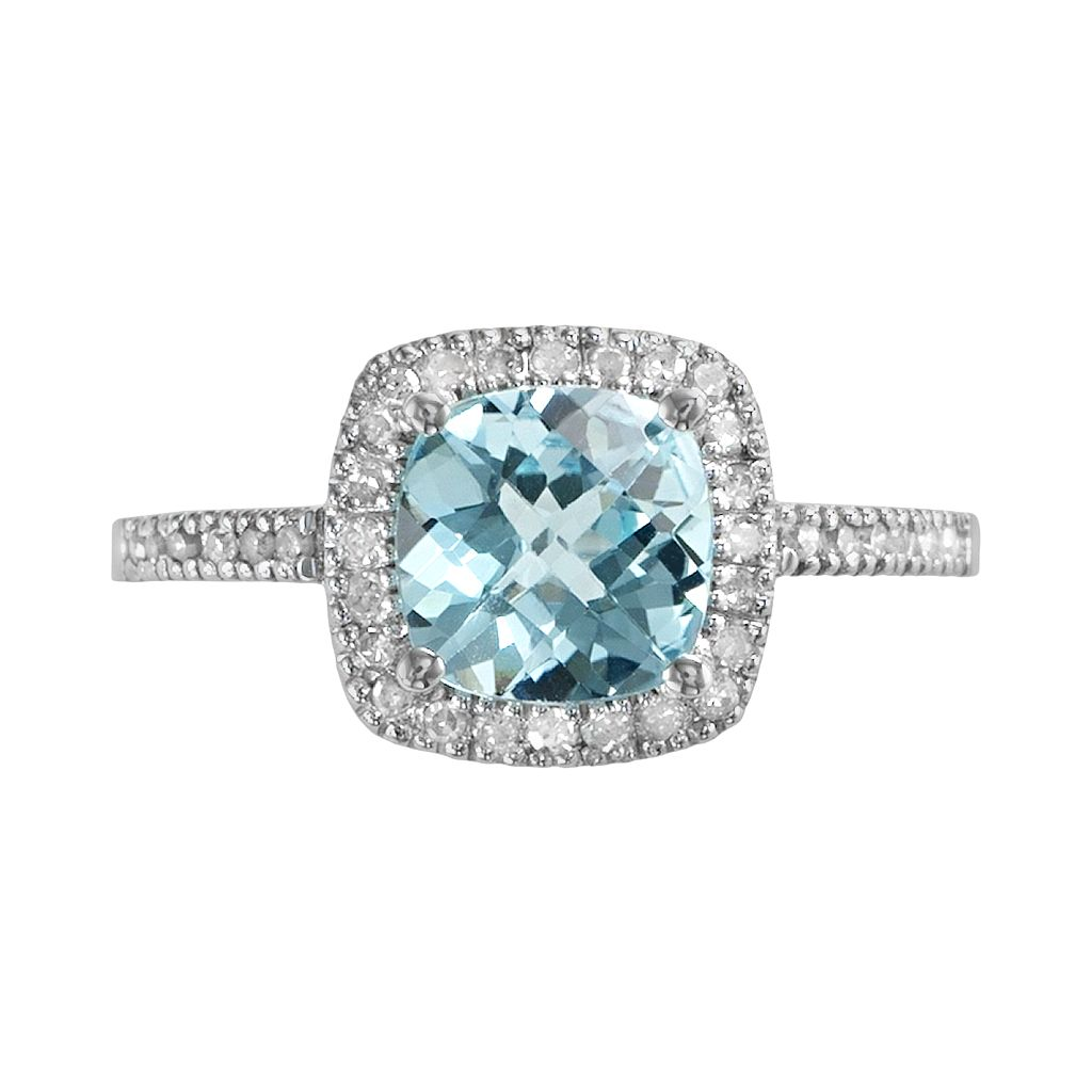 10k White Gold 1/5-ct. T.W. Diamond & Blue Topaz Frame Ring