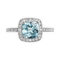 10k White Gold 1/5 ctT.W. Diamond & Blue Topaz Frame Ring