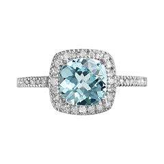10k White Gold 1/5-ct. T.W. Diamond & Blue Topaz Frame Ring
