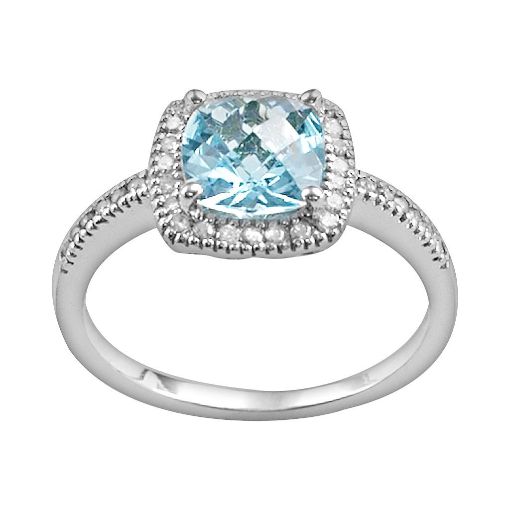 10k White Gold 1/5-ct. T.W. Diamond and Blue Topaz Frame Ring