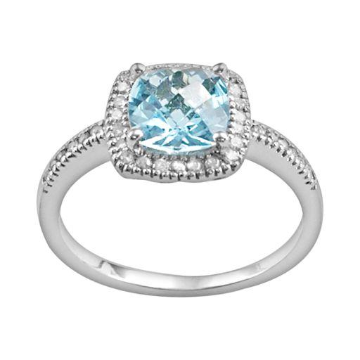 10k White Gold 1/5-ct. T.W. Diamond and Blue Topaz Frame Ring
