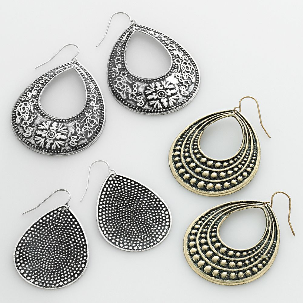 SO® Two Tone Flower Teardrop Earring Set