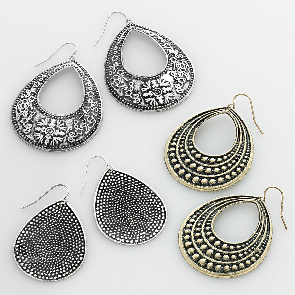 Mudd® Two Tone Flower Teardrop Earring Set