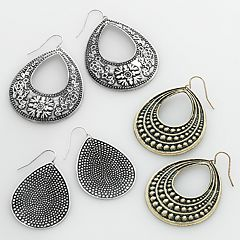 Mudd® Two Tone Flower Teardrop Earring Set