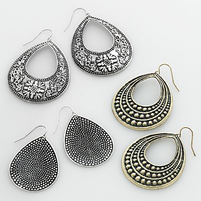 Mudd Two Tone Flower Teardrop Earring Set