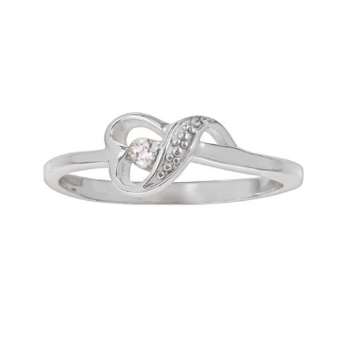 Sterling Silver Cubic Zirconia Swirl Heart Ring