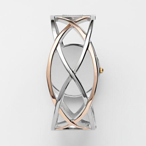 Studio Time Two Tone Simulated Crystal Crisscross Bangle Watch - STD1016T - Women