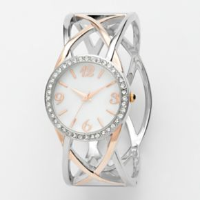 Studio Time Two Tone Simulated Crystal Crisscross Bangle Watch - STD1016T - Women
