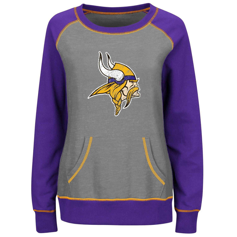 Womens Majestic Minnesota Vikings OT Queen II Fleece Sweatshirt