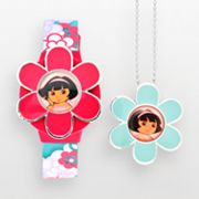 Dora the Explorer Silver Tone Flower Digital Watch and Pendant Set - Kids