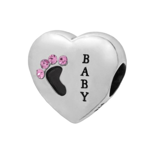 Individuality Beads Sterling Silver Crystal Baby Footprint Heart Bead